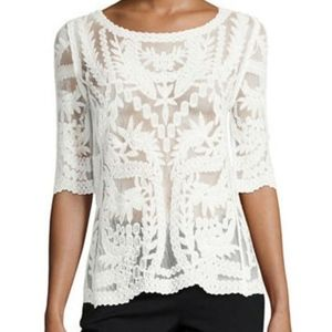 Laundry by Shelli Segal Embroidered Sheer Top